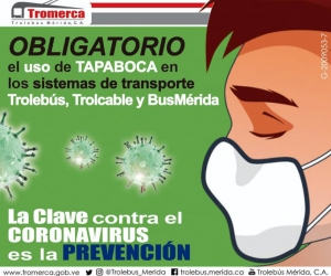 Trolebús Mérida extremó medidas para prevenir el coronavirus en sus espacios